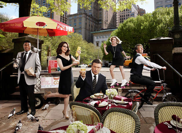 30 ROCK -- Season: 5 -- Pictured: (l-r) Tracy Morgan as Tracy Jordan, Tina Fey as Liz Lemon, Alec Baldwin as Jack Donaghy,  Jane Krakowski as Jenna Maroney,  Jack McBrayer as Kenneth Parcell (Art Streiber / NBC) Photo: Art Streiber, AP Photo / © NBC Universal, Inc.