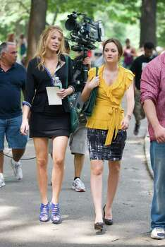 "Actresses Blake Lively and Leighton Meester are seen on the set of ""Gossip Girl"" in New York, Monday, July 27, 2009. Photo: Charles Sykes, AP Photo / AP2009"