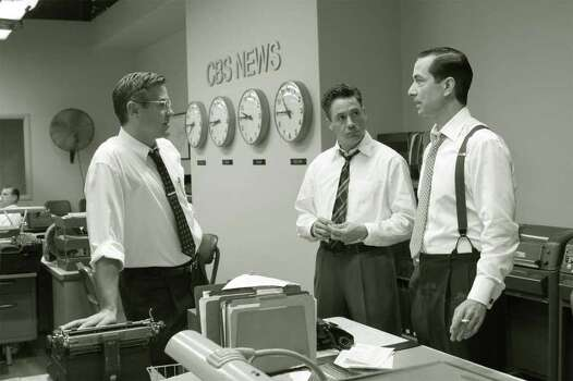 "This 2005 photo supplied by Warner Independent Pictures shows, from left, George Clooney, Robert Downey Jr.and  David Strathairn in a scene from ""Good Night, And Good Luck."" Clooney co-wrote the screenplay, directed and stars in the film which opened the New York Film Festival Sept. 23, 2005. Strathairn plays Edward R. Murrow and Clooney his producer, Fred Friendly. Downey plays Joe Wershba. Photo: MELINDA SUE GORDON, AP Photo / AP2005"