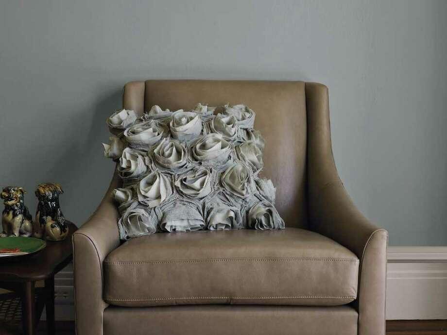 Deconstructed Rose Pillow Cover $59, West Elm, westelm.com. Photo: Melanie Warner Spencer, Rose Pillow Cover / West Elm