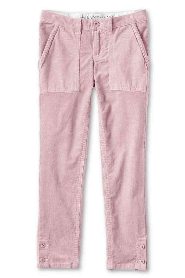 In this product photo provided by Lands' End, a pair of pink, pencil cord pants is displayed. Lands End, facing soaring cost increases, redesigned its basic corduroy pants for girls to create a trendier look to justify a $7 price increase to $34.50. (AP Photo/Lands' End) Photo: Shared Camera #15