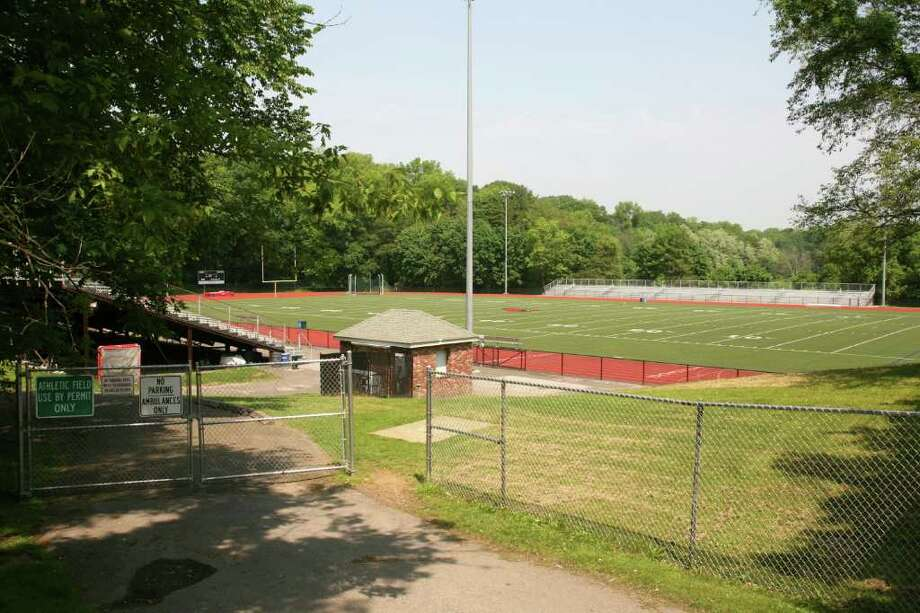 Greenwich High School's athletic field and bleachers at Cardinal Stadium as seen from West Putnam Avenue on May 27, 2011. Photo: File Photo / Greenwich Time File Photo