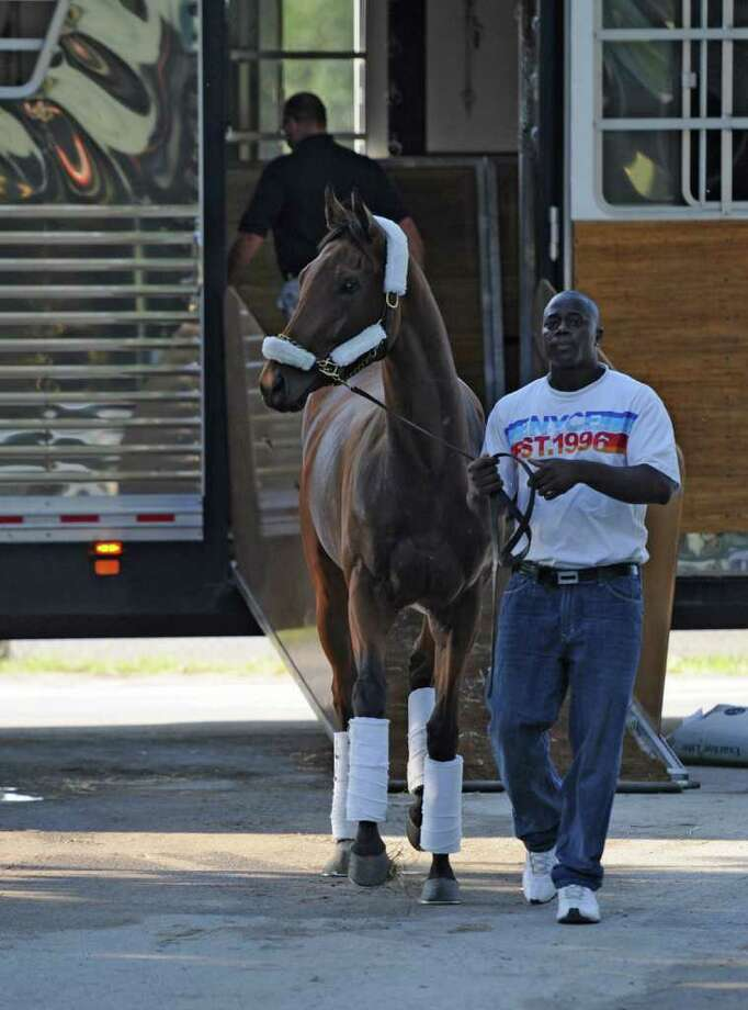 Groom Victor James takes Inglorious,  who will run in Saturdays Alabama Stakes, from the van at the Saratoga Race Course in Saratoga Springs, N.Y. Aug. 16, 2011,  after an 8 hour drive from Woodbine Race Course in Toronto Canada.   (Skip Dickstein / Times Union) Photo: SKIP DICKSTEIN