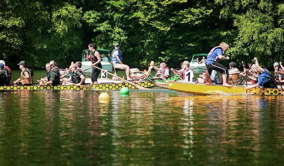 On August 20, Candlewood Lake took on a distinctly East Asian flair with dragon boat races and taiko drummers. Photo: Mike Macklem / Hearst Connecticut Media Group