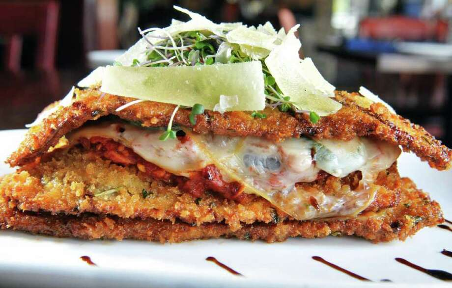 Eggplant Stack at Jacob & Anthony's American Grill in the Hampton Inn in Saratoga Springs Tuesday Aug. 16, 2011.  (John Carl D'Annibale / Times Union) Photo: John Carl D'Annibale / 00014280A