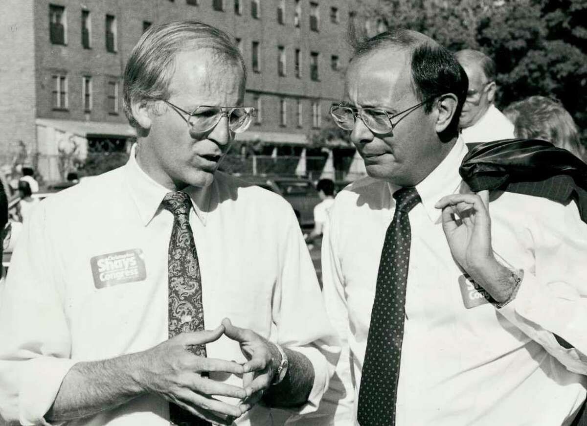 FILE 1987 - Christopher Shays and New York Senator Al D'Amato during Shay's congressional campaign.