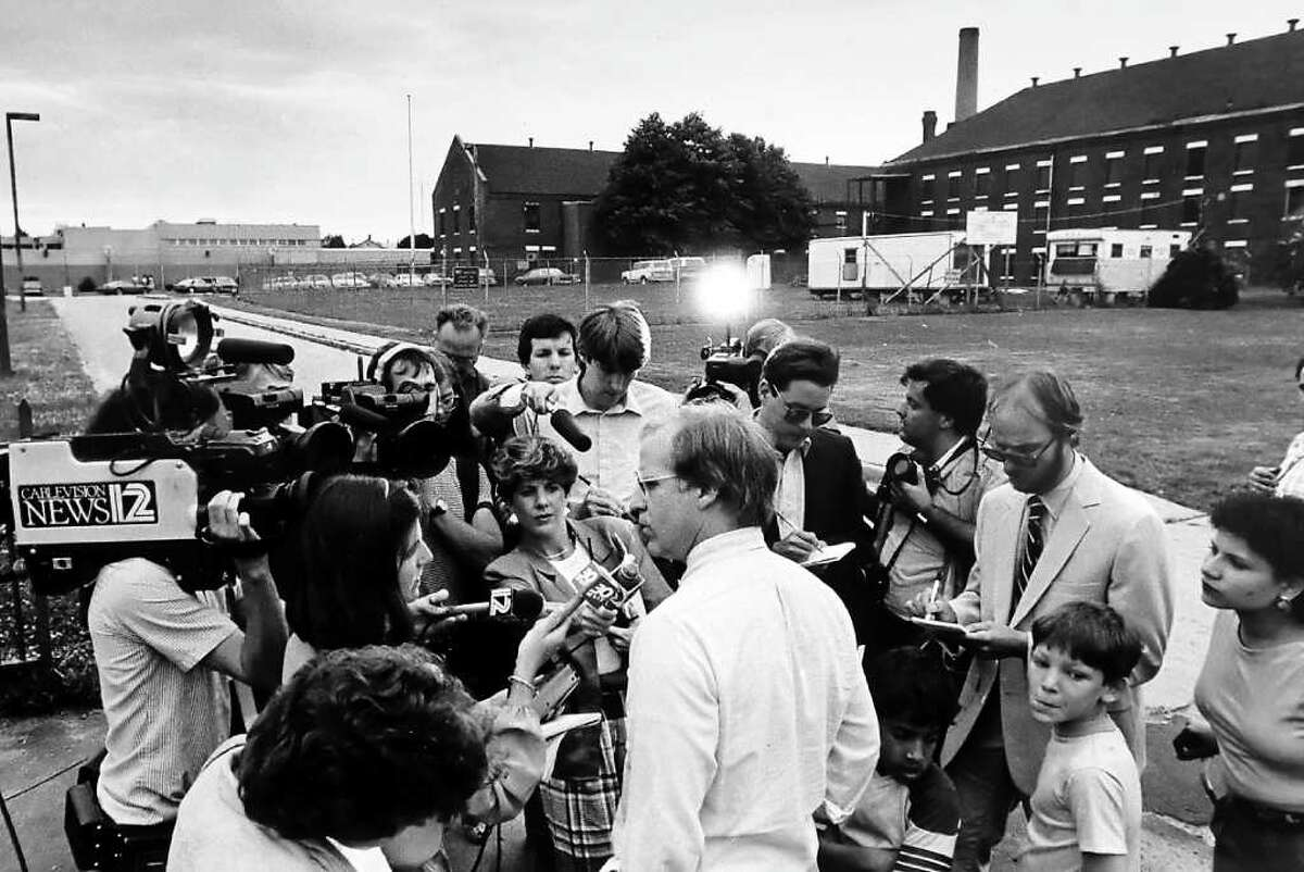 FILE 1985 - State Rep. Christopher Shays talks to reporters outside Bridgeport Correctional Facility where he would finish serving a jail sentence for contempt of court that began in March of 1985.