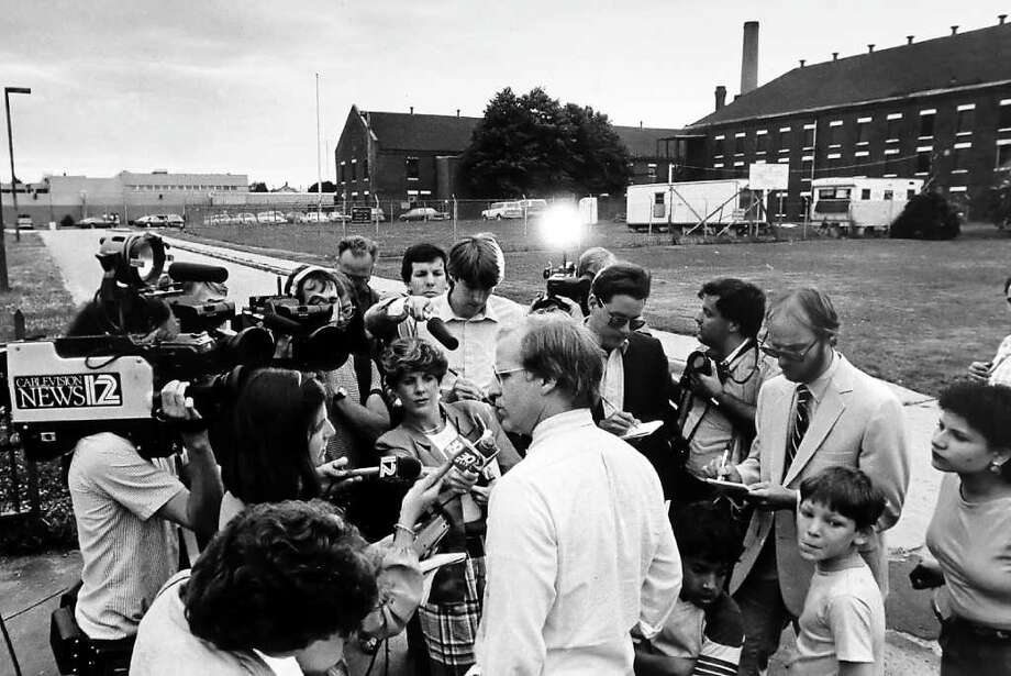 FILE 1985 - State Rep. Christopher Shays talks to reporters outside Bridgeport Correctional Facility where he would finish serving a jail sentence for contempt of court that began in March of 1985. Photo: File Photo / Stamford Advocate File Photo