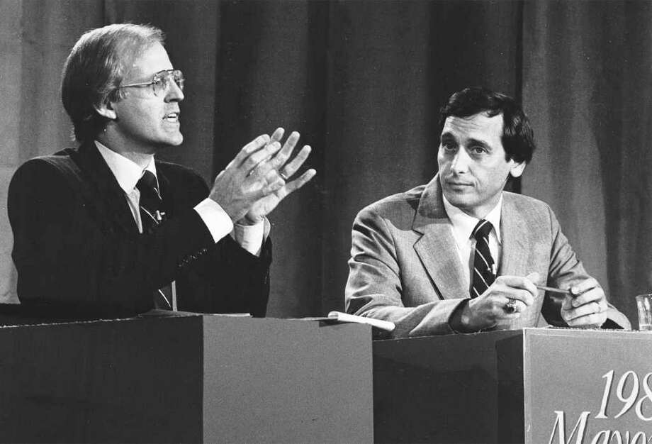 FILE 1983 - Stamford Mayoral candidates Christopher Shays, left, and Thom Serrani debate for CPTV. Photo: File Photo / Stamford Advocate File Photo