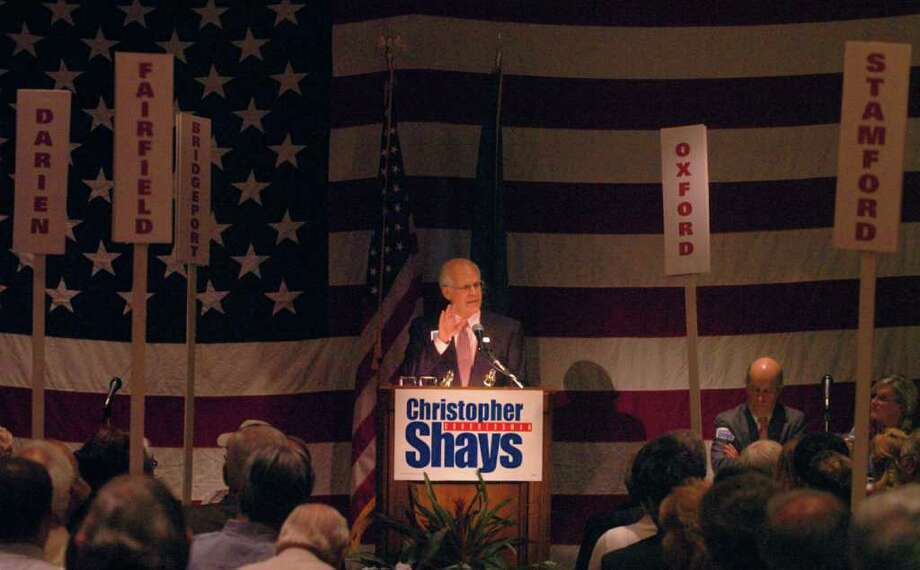 FILE 2004 - Christopher Shays speaks to the faithful at the nominating convention at the Italian Center in Stamford. Photo: File Photo / Stamford Advocate File Photo