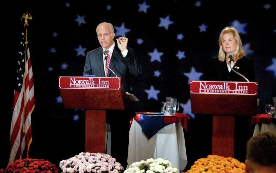 FILE 2006 - Diane Farrell and Christopher Shays debate at Norwalk Inn. Photo: File Photo / Stamford Advocate File Photo