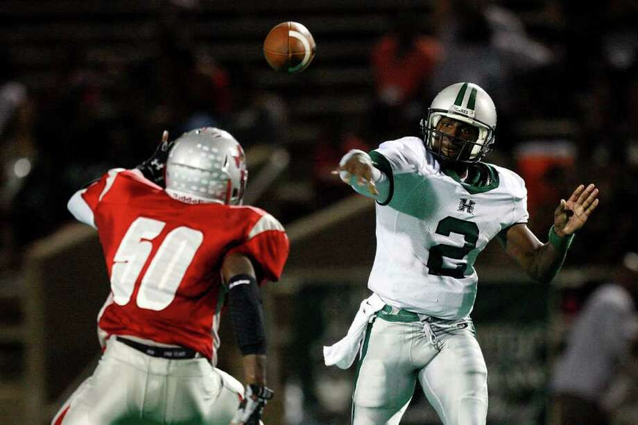 Hightower QB Bralon Addison passed for 1,861 yards and rushed for 1,078 yards in 2010. Photo: Bob Levey, For The Chronicle / Freelance