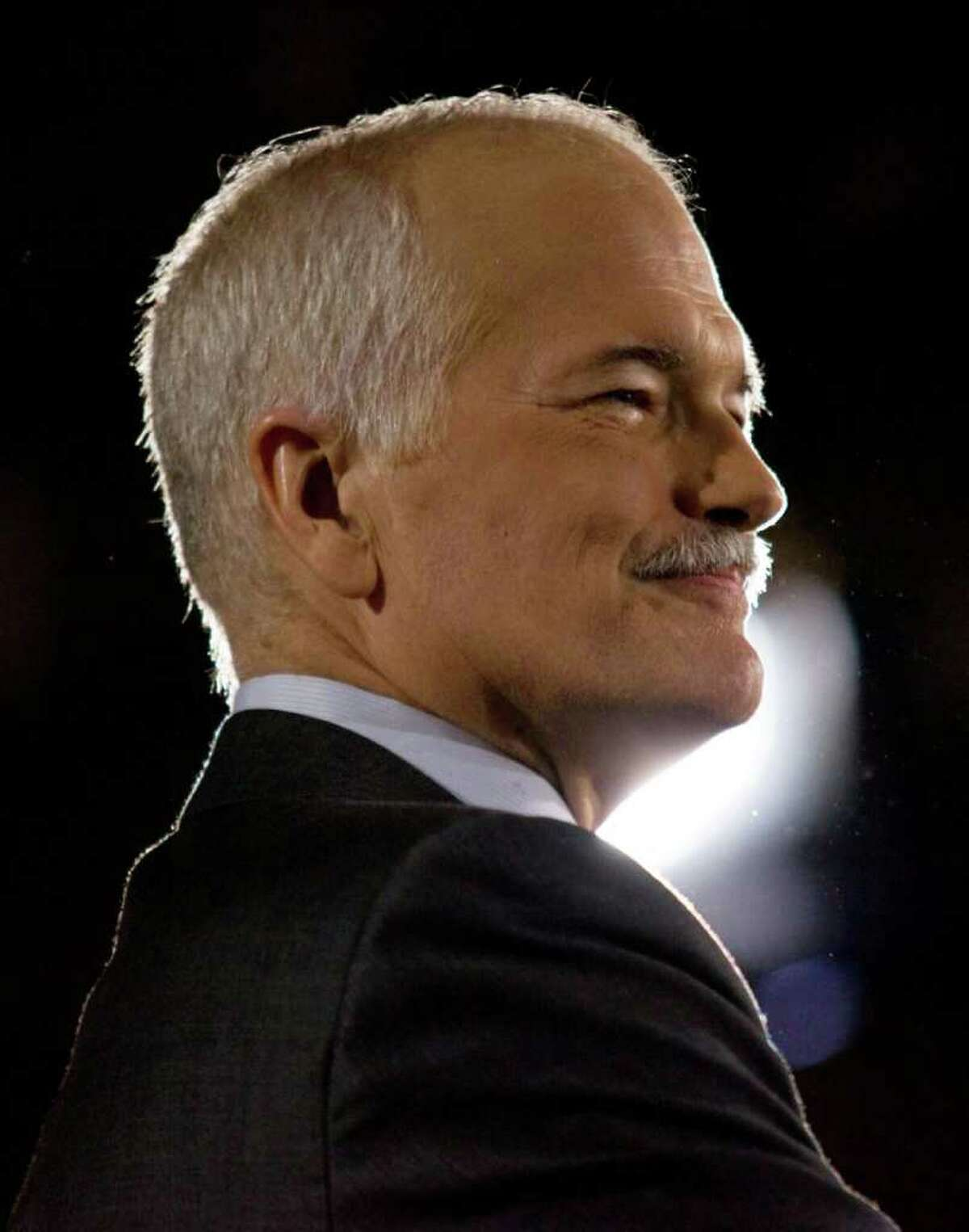 In this May 2, 2011 photo, NDP Leader Jack Layton speaks to supporters at the NDP headquarters in Toronto. Layton died Monday, Aug. 22, 2011, after a battle with cancer. (AP Photo/The Canadian Press, Chris Young)