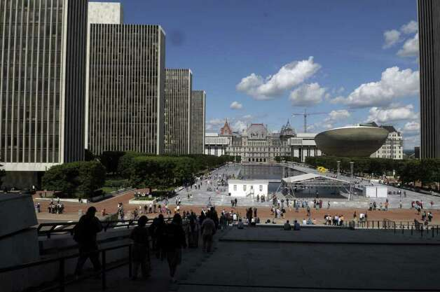 Workers make their way out of buildings around the Empire State Plaza in Albany after an earthquake was felt in the Capital Region on Tuesday, Aug. 23, 2011.  A reported 5.9 magnitude earthquake in Virginia caused rumblings about 1:55 p.m. in the Capital Region.  (Paul Buckowski / Times Union) Photo: Paul Buckowski  / 00014399A