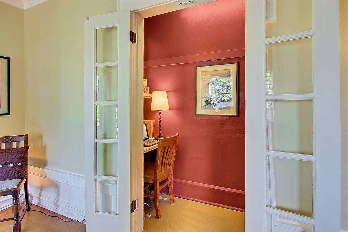 French doors from living room to office area.