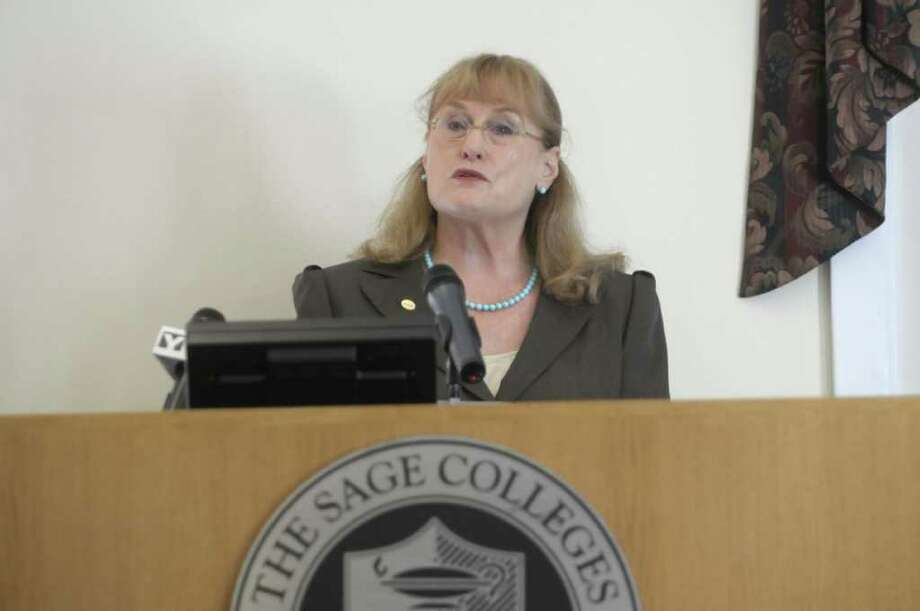Susan Scrimshaw president of The Sage Colleges addresses those gathered at a press conference on Tuesday, Aug. 23, 2011 to announce the collaboration between The Sage Colleges and Excelsior College to begin a program that will offer degrees for students with special needs.  The press conference was held at the Sage College of Albany Campus.   (Paul Buckowski / Times Union) Photo: Paul Buckowski  / 00014393A