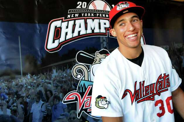 Outfielder George Springer talks about joining the ValleyCats during a news conference on Tuesday, Aug. 23, 2011, at Joseph L. Bruno Stadium in Troy, N.Y. (Cindy Schultz / Times Union) Photo: Cindy Schultz