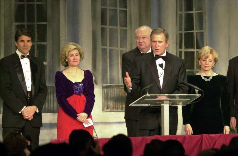 President-elect George W. Bush speaks during the Texas State Society Black Tie and Boots Ball, Jan.