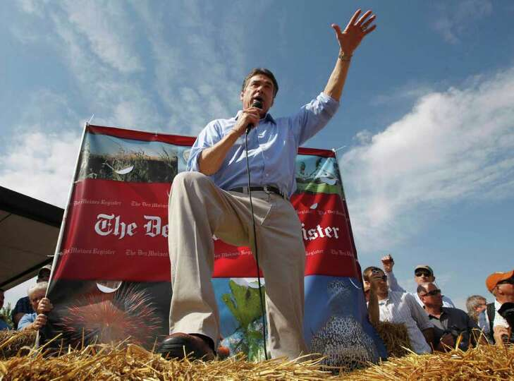 Republican presidential candidate, Texas Gov. Rick Perry speaks at the Iowa State Fair in Des Moines