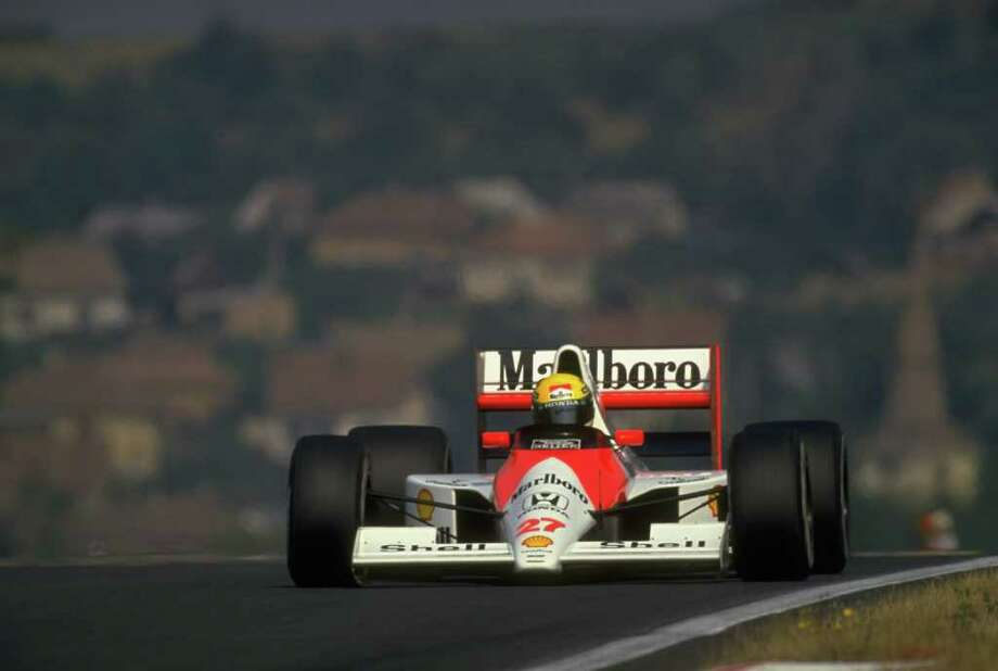 1990:  Ayrton Senna of Brazil in action in his McLaren Honda during the Hungarian Grand Prix at the Hungaroring circuit in Budapest, Hungary. Senna finished in second place.  \ Mandatory Credit: Pascal  Rondeau/Allsport Photo: Pascal Rondeau, Staff / Getty Images Europe