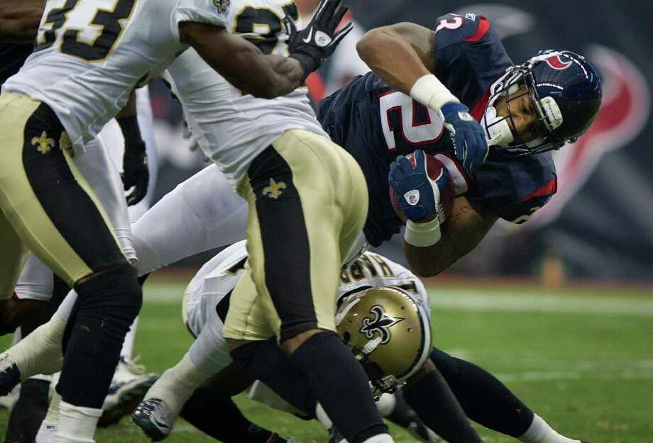 Week 3, Sept. 25. Noon, CBS. At Saints. Gregg Williams' defense blitzes Texans into three turnovers, and Drew Brees capitalizes with two touchdown passes to deal Texans first loss. Saints 20, Texans 17. Record: 2-1 Photo: Smiley N. Pool, Houston Chronicle / © 2011 Houston Chronicle