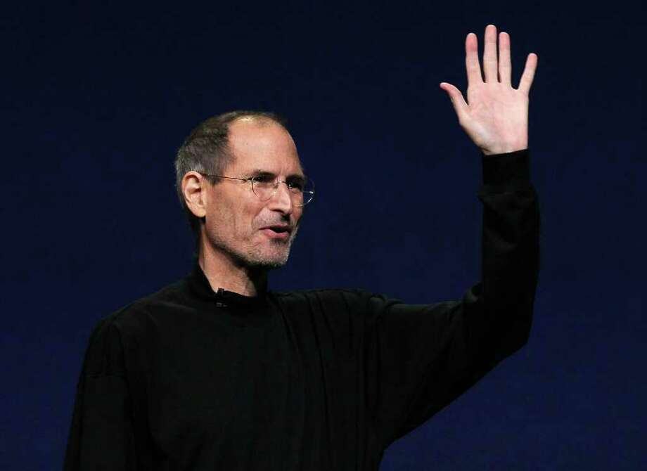 SAN FRANCISCO, CA - FILE:  Apple CEO Steve Jobs waves to the crowd after speaking during an Apple Special event to unveil the new iPad 2 at the Yerba Buena Center for the Arts on March 2, 2011 in San Francisco, California. It's been reported that Steve Jobs has resigned as the CEO of Apple August 24, 2011.  (Photo by Justin Sullivan/Getty Images) Photo: Justin Sullivan, Staff / 2011 Getty Images
