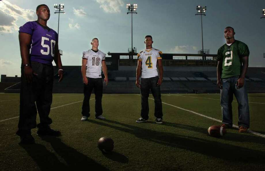 Football athletes Kendall Ehrlich, Paul Boyette, Matt Davis, and Bralon Addison are featured in the High School Football Preview.  Athletes photographed at Delmar Stadium on Monday, Aug. 1, 2011, in Houston.  ( Mayra Beltran / Chronicle ) Photo: Mayra Beltran, Staff / © 2011 Houston Chronicle