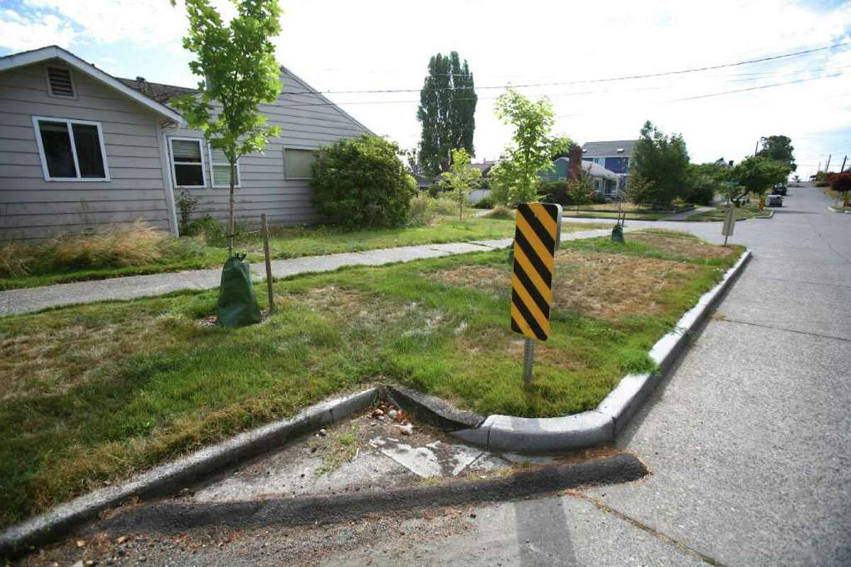 Asphalt blocks the entryway for water into a Ballard rain garden covererd with grass on 29th Avenue NW and NW 77th Street on Wednesday, August 24, 2011. Some of the rain gardens, meant to keep runoff from entering waterways, will be removed after complaints of standing water and other problems with the gardens.