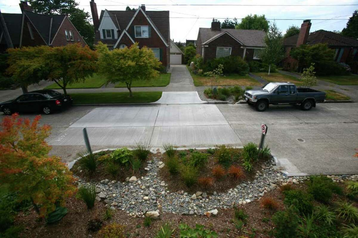 A Ballard rain garden is shown in the 7500 block of 31st Avenue NW on Wednesday, August 24, 2011. Some of the rain gardens, meant to keep runoff from entering waterways, will be removed after complaints of standing water and other problems with the gardens.