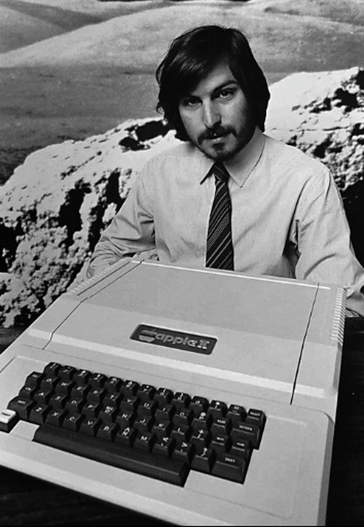 Founder Steve Jobs as he introduces the new Apple II in Cupertino in 1977.