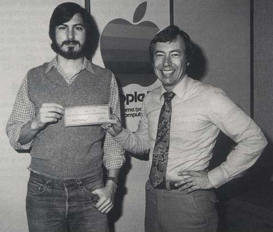 "Steve Jobs receives an infusion of cash from venture capitalists Don Valentine and Mike Markkula, pictured here, to start Apple. This is a still from the film ""Something Ventured."" Photo: Courtesy Of Zeitgeist Films / Something Ventured"