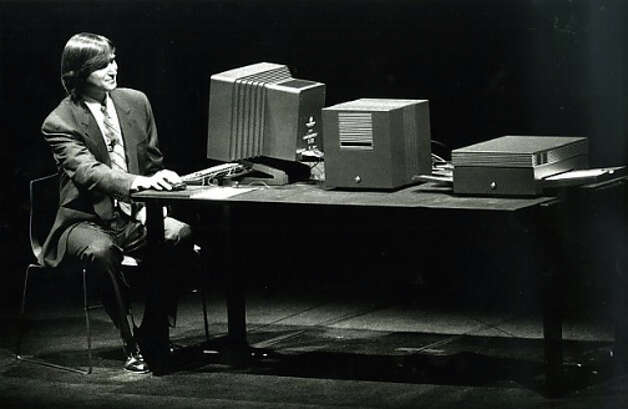 Steve Jobs demonstrated the versatility of the NeXT system computers at Fort Mason in San Francisco in March 1989. Photo: Brant Ward / The Chronicle