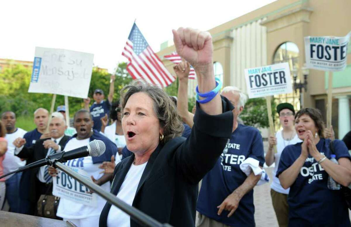 Mayoral hopeful Mary-Jane Foster addresses supporters gathered on the steps of City Hall Annex in Bridgeport, Conn. during a