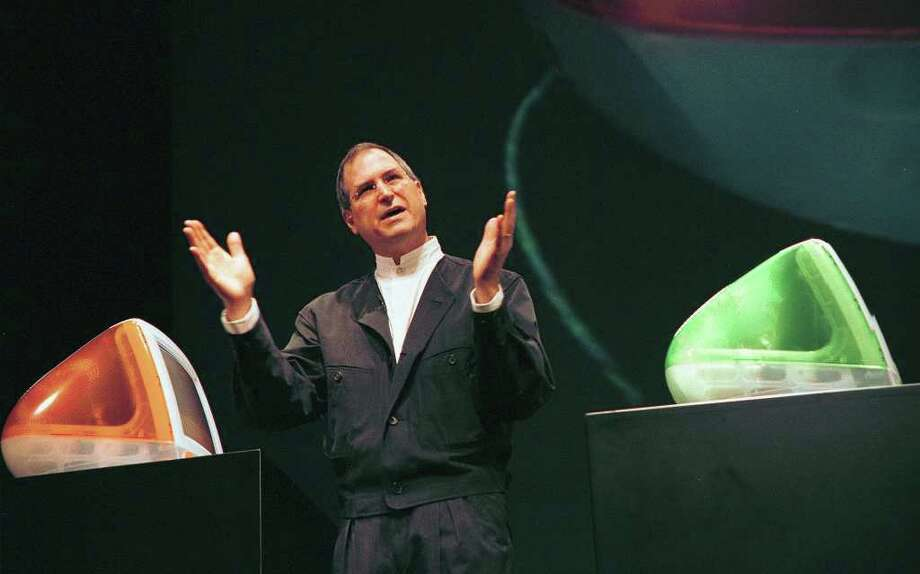 Apple Computer interim CEO and co-founder Steve Jobs introduces the next generation of the popular iMacs in Cupertino, California, October, 5, 1999.  Photo: JOHN G. MABANGLO, AFP/Getty Images / 2011 AFP