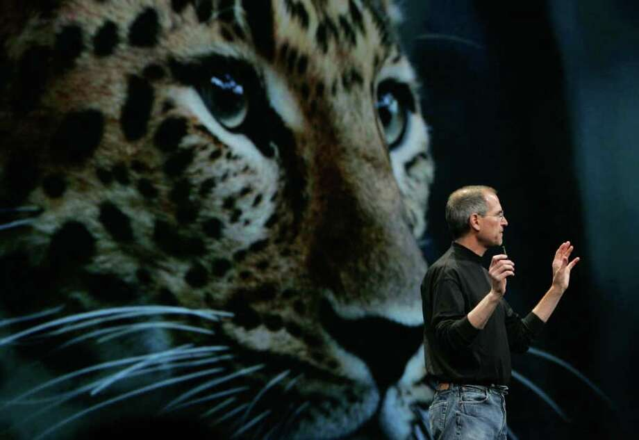 Apple CEO Steve Jobs delivers the keynote address at the Apple Worldwide Web Developers Conference June 11, 2007 in San Francisco, California. Jobs demonstrated new features from the upcoming Leopard operating system as he kicked off the WWDC. Photo: Justin Sullivan, Getty Images / 2007 Getty Images
