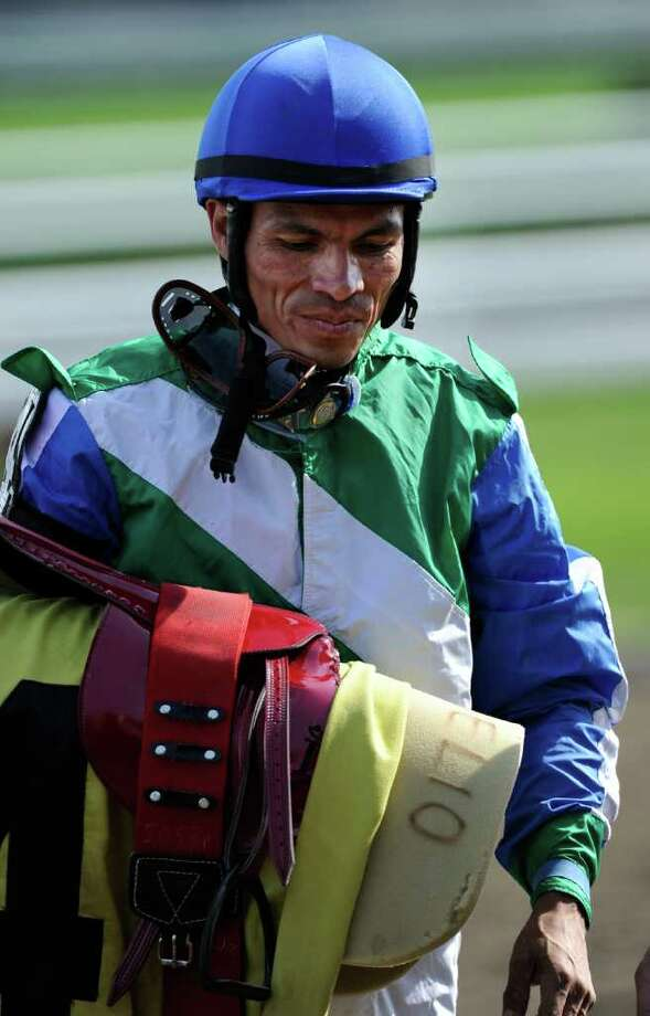 Jockey Jesus Castanon placed second in the 6th race and is still winless at the Saratoga Race Course in Saratoga Springs, N.Y. Aug 24, 2011, (Skip Dickstein / Times Union) Photo: SKIP DICKSTEIN