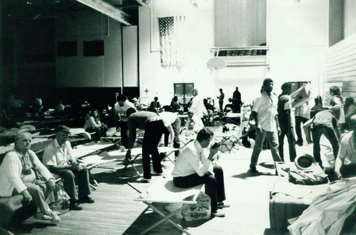 Hurricane Gloria Sept. 27, 1985 - Over 200 persons were sheltered in the Stamford High School Gymnasium.