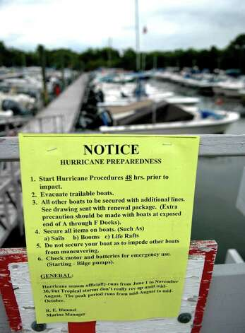Hurricane preparedness notices were posted at South Benson Marina in Fairfield Conn. on Thursday Aug. 25, 2011. Photo: Cathy Zuraw / Connecticut Post