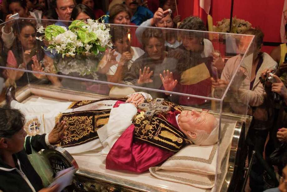 A sample of blood of the recently beatified Pope John Paul II is on a tour of Mexico with a wax likeness of the pontiff. John Paul visited Mexico five times during his reign. Photo: Keith Dannemiller, Photographer / ©2011 Keith Dannemiller