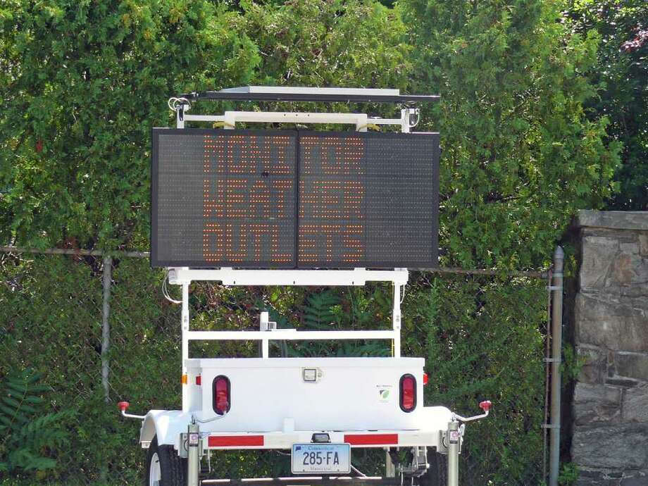 An electronic sign at Reef and Fairfield Beach Roads is just one of the many ways town officials are urging residents to prepare for the arrival of Hurricane Irene. Photo: Genevieve Reilly / Fairfield Citizen