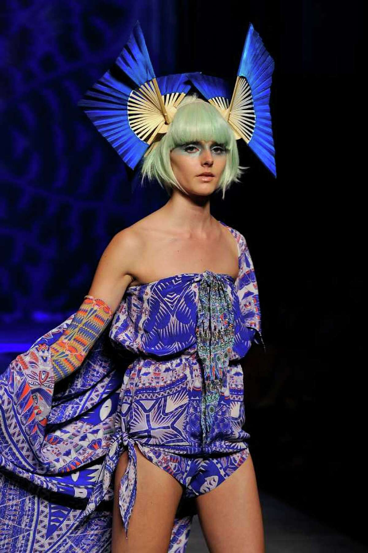 A model showcases designs on the catwalk by Labyrinth By Camilla during the Labyrinth By Camilla show as part of Mercedes Benz Fashion Festival Sydney 2011 in Sydney, Australia.
