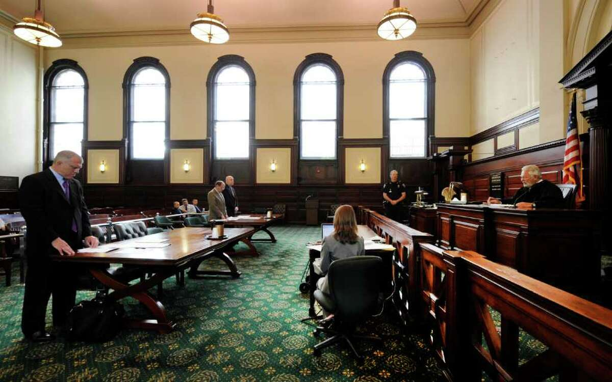 Former Troy City Clerk William A. McInerney, a Democrat, admitted Friday that he signed a voter's signature to a Working Families Party absentee ballot in 2009 to steer the vote to his party's candidate in front of Judge George Pulver in Rensselaer County Court in Troy, N.Y. Aug 26, 2011. (Skip Dickstein / Times Union)