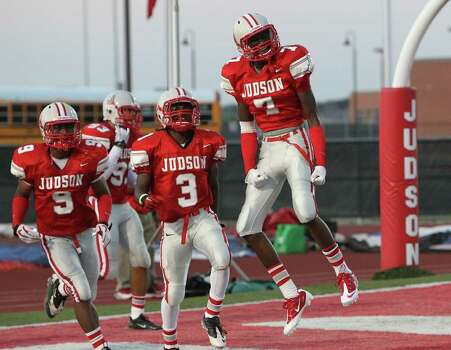 Judson safety Tre Flowers (07) reacts after returning an interception against the MacArthur Brahmas for a touchdown in the first half at Rutledge Stadium on Friday, August 26, 2011. Kin Man Hui/kmhui@express-news.net Photo: KIN MAN HUI, -- / San Antonio Express-News