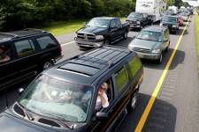 Vehicles sit in a traffic jam on the northbound Garden State Parkway Friday, Aug. 26, 2011, near Ocean View, N.J. Ahead of Hurricane Irene, mandatory evacuations were under way Friday affecting nearly one million residents and visitors in Cape May County, coastal Atlantic County and Long Beach Island NJ. (AP Photo/Mel Evans)