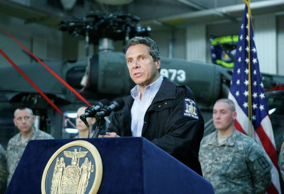 Gov. Andrew Cuomo speaks to National Guard Troops deployed for Hurricane Irene assistance at the Division of Military and Naval Affairs Headquarters in Latham on Saturday morning. (Office of Gov. Andrew Cuomo) Photo: Will Waldron