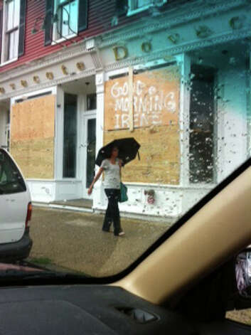 Stores in Westport boarding up in preparation for Hurricane Irene. Photo: Contributed Photo