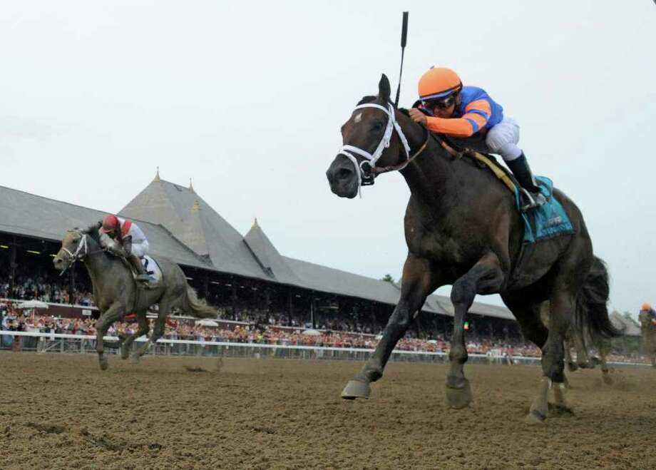 Stay Thirsty with jockey Javier Castellano in the saddle, right wins 142nd running of The Travers Stakes at the Saratoga Race Course in Saratoga springs, N.Y. Aug 27, 2011.  (Skip Dickstein / Times Union) Photo: SKIP DICKSTEIN