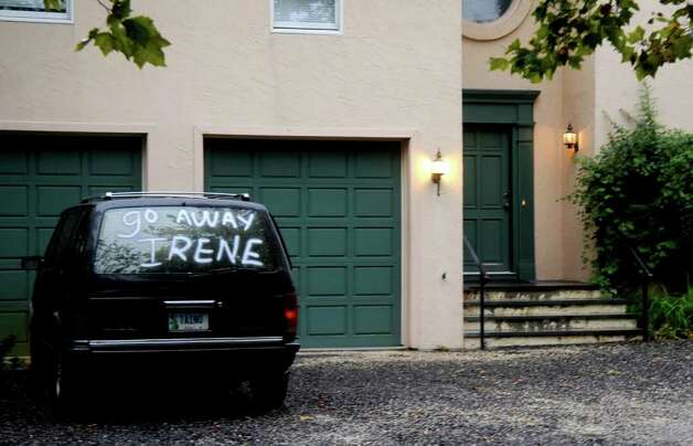 A car on the driveway of a Sea View Ave. house in Stamford tells the oncoming hurricane to go away before its arrival on Saturday, August 26, 2011. Photo: Lindsay Niegelberg