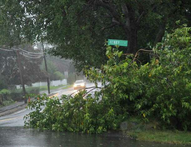 A tree limb down at the corner of Henry Street and Byram Road in Byram  during Hurricane Irene, Aug. 28, 2011. Photo: Bob Luckey / Greenwich Time