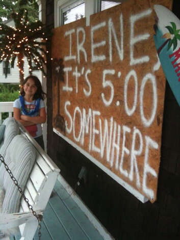 A girl named Sophia braces for Hurricane Irene at her home in West Haven, Conn. on Saturday, August 27, 2011. Photo: Contributed Photo